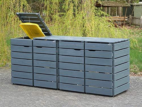4er Mülltonnenbox / Mülltonnenverkleidung 240 L Holz, Deckend Geölt Tannengrün - 3