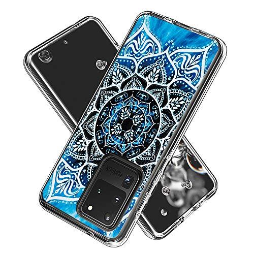 Coque Samsung Galaxy S20 Ultra(6.9inch, Silicone Bumper, Transparent PC + TPU Hybride Boîtier de Protection avec Carte de Mode (Mandala)