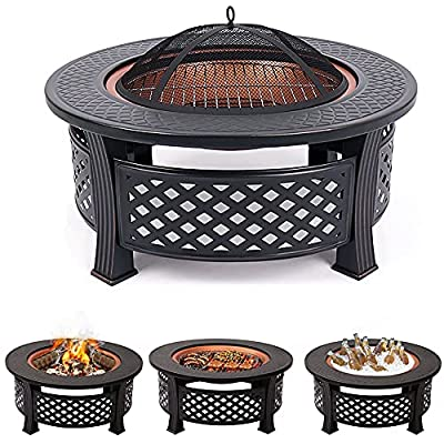 3 in 1 Garden Fire Pit with BBQ Grill Shelf Multifunctional Fire Pit for Heating/BBQ Ice Pit Patio Heater Garden Terrace Fire Bowl Round Metal Fire Basket with Waterproof Protective Cover from XEMQENER