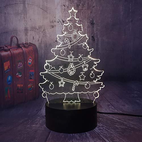 3D Nachtlicht Illusion Lampe Led Geschenkbaum Deko Licht Stimmungslicht Nachttischlampe 16Farben Ändern Touch Switch Schreibtisch Lampen Geburtstagsgeschenk Weihnachten