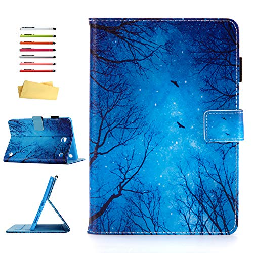 UUcovers Case for Samsung Galaxy Tab A 8.0 inch Tablet Case 2015 (SM-T350/T355/P350/P355) with Pencil Holder Card Slots Stand Folio Synthetic Leather TPU Back Shockproof Cover Magnetic Wallet, Night