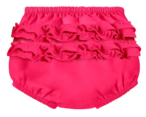 City Threads Baby Girls' Ruffle Swim Diaper Cover Reusable Leakproof for Swimming Pool Lessons Beach, Hot Pink, 0/3m