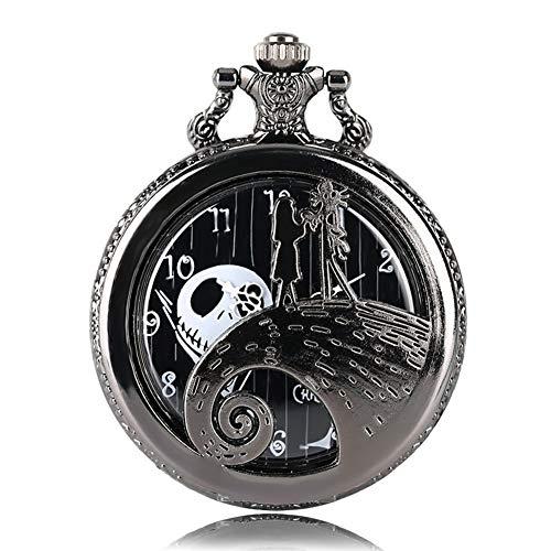 Reloj de bolsillo de cuarzo con cadena de pesadilla antes de Navidad, para hombres y mujeres, con caja para regalo de Navidad