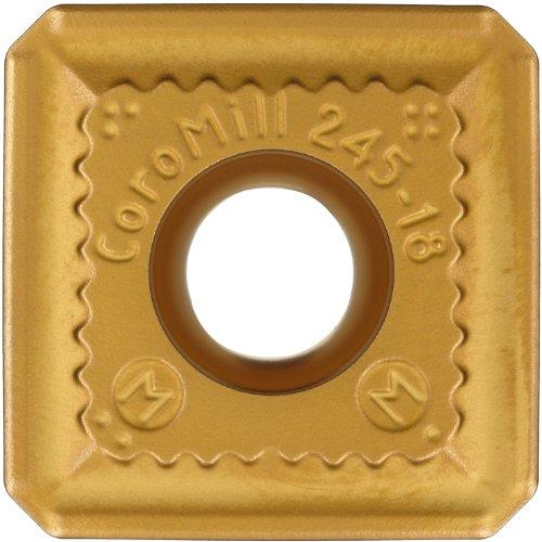 Sandvik Coromant COROMILL Carbide Milling Insert, R245 Style, Square, K20W Grade, Multi-Layer Coating, R24512T3KMM,0.156