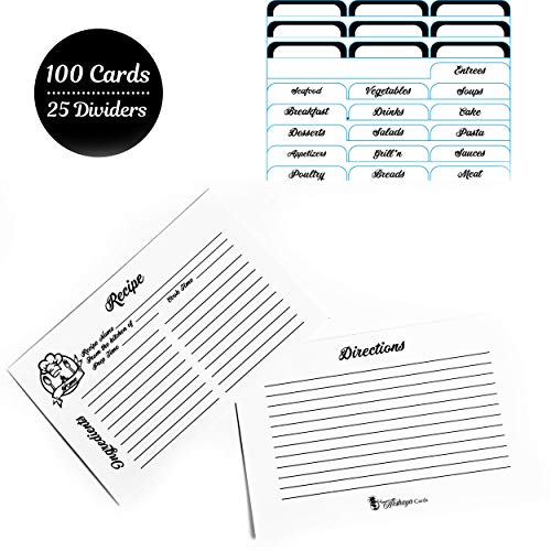 AKSHAYA Recipe Cards and Dividers Set - 100 Recipe Cards 4x6 Double Sided and 25 Divider Tabs. Helps Organize Recipe Box, Tins and Binders. Perfect Gift on Bridal Shower, Wedding - Black & White