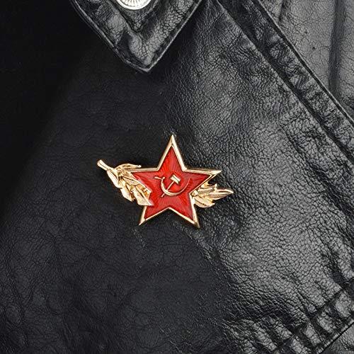 QISKAII UDSSR Symbol Emaille Pin Kalten Krieg Sowjetische CCCP Red Star Sichel Hammer Brosche Geschenk Symbol Abzeichen Knopf Anstecknadel für Mantel Kappe Geschenk