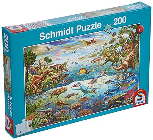 Schmidt Spiele- Descubre los Dinosaurios, puzle Infantil de 200 Piezas, Color carbón (SCH56253)