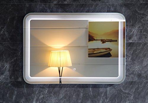 Design LED-Beleuchtung Badspiegel GS086 Lichtspiegel Wandspiegel mit Touch-Schalter Tageslichtweiß IP44 (80x60cm)