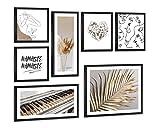 -Art Poster 'Dream Set de imágenes sobre lienzo con un elegante marco impreso sobre un cuadro blanco y negro de 7 piezas. Perfecto para el hogar o la oficina (azul azul)
