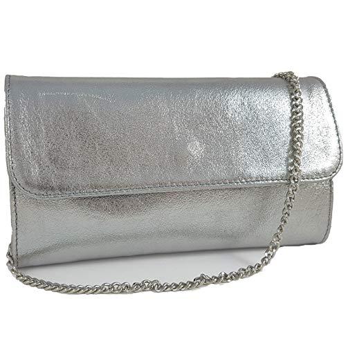 Freyday Echtleder Damen Clutch Tasche Abendtasche Muster Metallic 25x15cm (Silber Metallic)