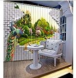 chinawh Muro Cortina 3D Personalizado Flor de Pavo Real Cortina insonorizada Foto Cortina Opaca 3D Ancho del Dormitorio Ancho 320 altura270