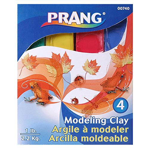 Prang DIX740BN Modeling Clay, Assorted, 1 lb. Per Pack, 6 Packs, Clay, Red/Green/Blue/Yellow (Pack of 6)