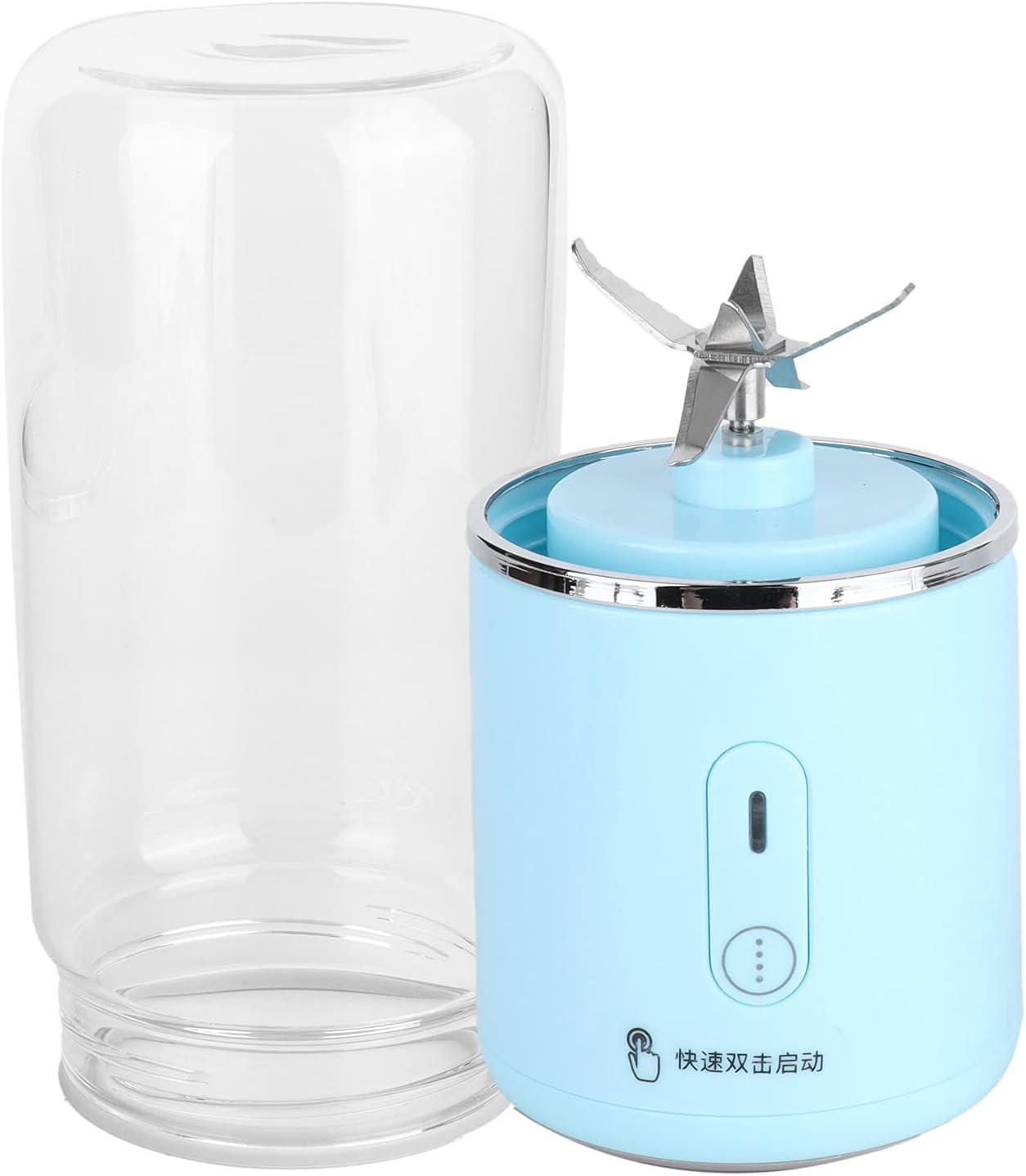 Aoca Licuadora portátil de 300 ml para Suministros de Viaje en casa, licuadora de Viaje Recargable Azul, máquina mezcladora, batidora de Frutas, batidora de Leche