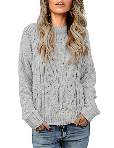 Vetinee Women Long Sleeves Soft Velvet Cable Knit Crewneck Solid Grey Sweater Pullover Top Size M 8 10