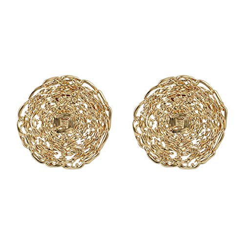 Fashion Gold Color Big Stud Earrings For Women Twist Flowers Stud Round Earring Geometric Jewelry Gift