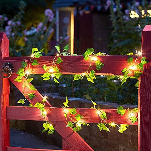 Canghai - Ghirlanda di piante artificiali a energia solare, con luci a LED, per piante rampicanti artificiali, decorazione per la casa all'aperto (20 LED verde)