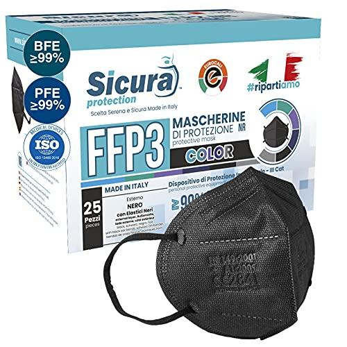 25x CE-zertifizierte FFP3-Masken Schwarz Made in Italy mit aufgedrucktem SICURA-Logo PFE ≥99% | BFE ≥99% SANIFIZIERT und einzeln versiegelt. ISO 13485 und ISO 9001 zertifiziert