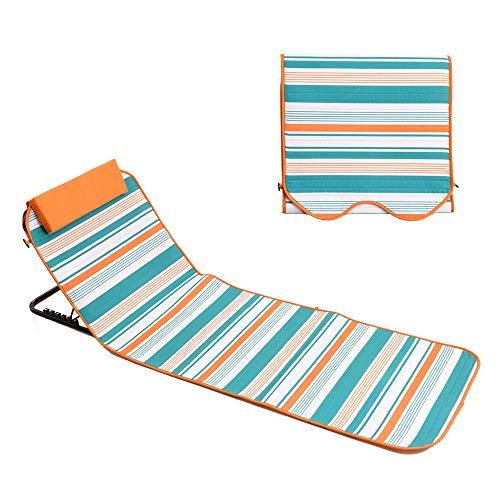 Colchoneta de playa Plegable Ligera Tumbona con respaldo ajustable Reposacabezas Bolsillo Reclinable acolchado Silla portátil de jardín para acampar Impermeable para picnic en el patio al aire libre