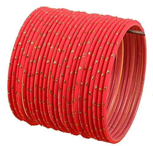 Touchstone Bunten Armreif Sammlung indischen Bollywood Exklusive Glasur Designer Schmuck spezielle Armreifen Armbänder für Damen 2.62 Set 2 Spanisch Red