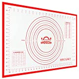 Silicone Pastry Mat for Baking, Whekeosh Large 16''x24'' FDA Rolling Mat Non-Slip Bottom Non-stick Surface Heatproof BPA Free for Oven Liner Pie Crust Mat, Fondant Mat, Counter Mat with Measurements