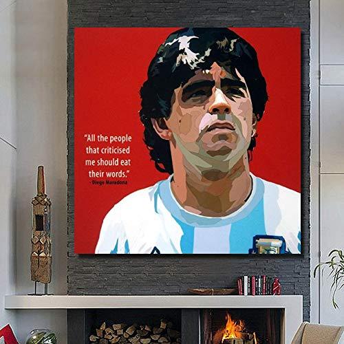 UIOLK Estrella de ftbol Colorida Abstracta Diego Maradona Pintura al leo Abstracta Arte Pintura de Pared sobre Lienzo Cartel decoracin del hogar Aniversario cumpleaos