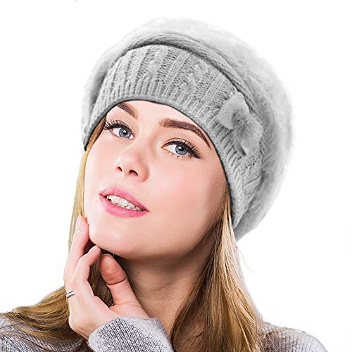 SIYWINA Frauen Barette Damen Mützen Wolle Beanie Wintermütze Baskenmütze