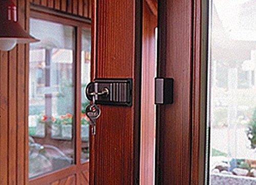 Burg-Wächter Tür- und Fenstersicherung, Abschließbar, 2 Schlüssel, Beidseitig verwendbar, Komfort-Riegel RZ 60 B SB, Braun