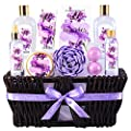 Green Canyon Spa Lavender Spa Gift Baskets for Women, Birthday Gift Ideas 10 Pcs Spa Gift Sets with Handmade Weaved Basket