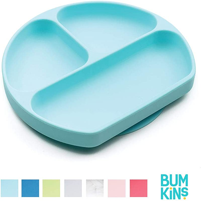 Bumkins Silicone Grip Dish Suction Plate Divided Plate Baby Toddler Plate BPA Free Microwave Dishwasher Safe Blue