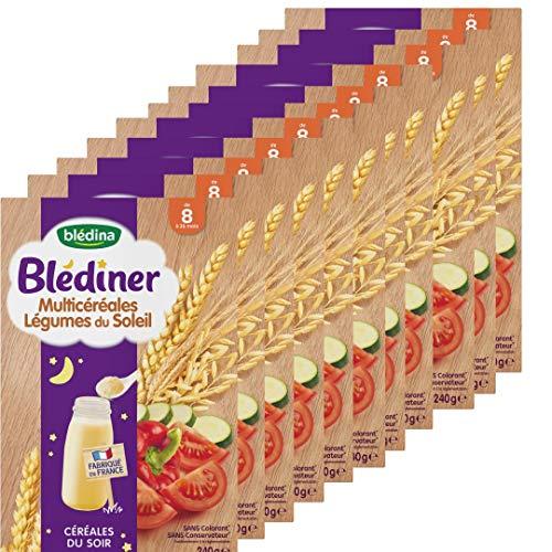 Blédina - Blédîner - Céréales du Soir pour bébé - Multicéréales Légumes du Soleil - Dès 8 mois - Pack de 12 boites