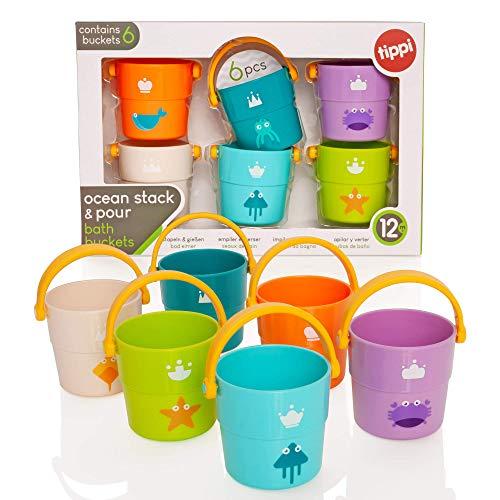 Tippi - Cubos Apilados para los Amantes del mar - Juguete de baño para bebés - Juguete de Piscina para niños