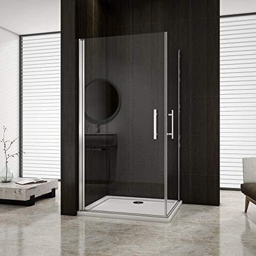 Aica 100x80cm box doccia angolare cabina doccia apertura battente cristallo temperato trasparente anticalcare alto 195cm porte doppie