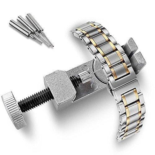 Colorful Uhrmacherwerkzeug, Uhrenarmband Strap Kettenbolzen Remover Reparatursatz Werkzeug für Uhrmacher mit 3 Extra Pins (Silber)