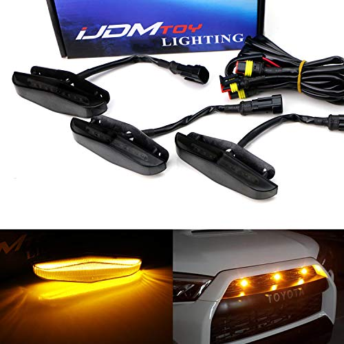 iJDMTOY 3pc Set Dark Smoked Lens Full LED Strip Front Grille Lighting Kit Compatible With 2014-up Toyota 4Runner, Includes (3) 24-SMD 2500K Amber LED Assy & Wiring Harness