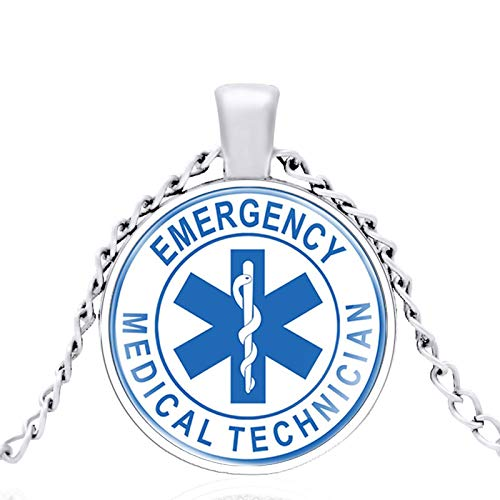 TUDUDU EMT Técnico Médico De Emergencia Cúpula De Vidrio Collar Clásico De Metal Colgante Retro Hombres Y Mujeres Joyas Cadena De Regalo Longitud 80 Cm