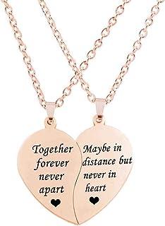 MJartoria Best Friend Necklaces BFF Necklace for 2-Split Valentine Heart Together Forever Never Apart Best Friends Pendant Friendship Necklace Set of 2 Inspirational Gift
