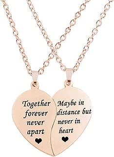 BFF Necklace for 2-Split Valentine Heart Together Forever Never Apart Best Friends Pendant Friendship Necklace Set of 2