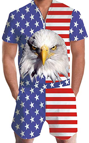 Goodstoworld Mens American Flag Rompers 4th of July Overalls Male USA Patriotic Jumpsuits One Piece Playsuit Party Suit Shorts Independence Day Outfits Shirt