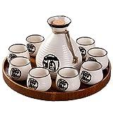 Juego de Sake Juego de Tazas de Sake japonés Diseño Tradicional Pintado a Mano Cerámica de Porcelana Tazas de cerámica Copas de Vino artesanales, Utensilios de Vino Calientes Vintage para el hogar