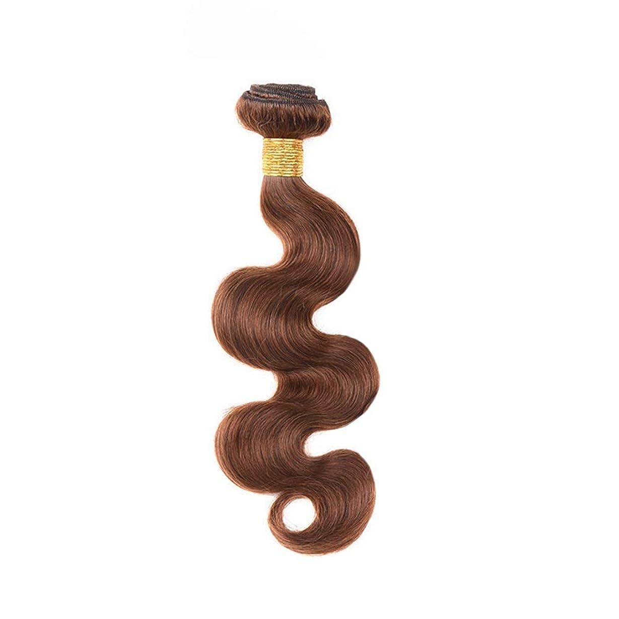 公演差別的杖YESONEEP 茶色の人間の髪織りバンドルリアルレミーナチュラルヘアエクステンション横糸 - 実体波 - 4#ブラウン(1バンドル、10インチ-24インチ、100g)合成髪レースかつらロールプレイングウィッグロング&ショート女性自然 (色 : ブラウン, サイズ : 12 inch)