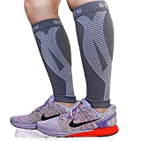 BLITZU Calf Compression Sleeves For Women & Men Leg Compression Socks for Runners, Shin Splint, Recovery from Injury & Pain Relief Great for Running, Maternity, Travel, Nurses Gray S-M