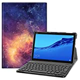 Fintie Funda con Teclado Español Ñ para Huawei MediaPad M5 Lite 10 - Carcasa SlimShell con Soporte y Teclado Bluetooth Inalámbrico Magnético Desmontable, Galaxia