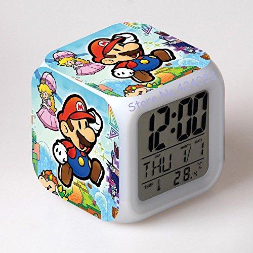XINHANG Reloj Personajes Super Mario Bros con Cambio Reloj Despertador Digital Noche Cambio Colorido