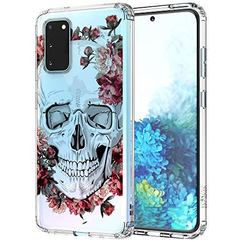 MOSNOVO Galaxy S20 Hülle, Blühen Blumen Schädel Totenkopf Skull Muster TPU Bumper mit Hart Plastik Hülle Durchsichtig Schutzhülle Transparent für Samsung Galaxy S20 Hülle (Floral Skull)