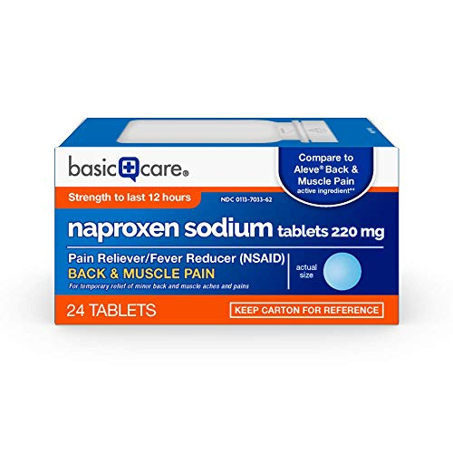 Basic Care Back & Muscle Pain Naproxen Sodium Tablets, 220 mg, Pain Reliever and Fever Reducer, 24 Count
