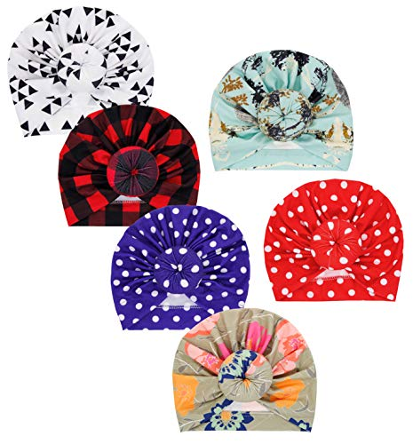 Baby Girl Hat with Newborn Toddler Cotton Hat Cute Donuts Soft Headband Bow Cap Set (mx-07-6pcs- Plaid/Light Curry/White Triangle/Treasure Blue/Turquoise Blue/Big Red)