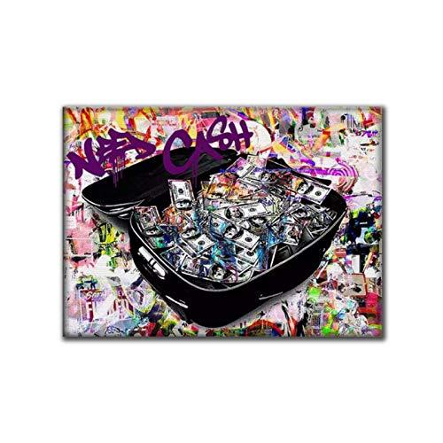 JLFDHR Carteles e Impresiones de Pintura de Lienzo de Dinero de Maleta Colorida imágenes artísticas de Pared para decoración de Pared de Sala de estar-60x90cmx1 sin Marco