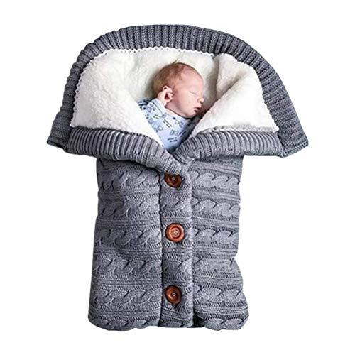 Ourine Wickeldecke für Neugeborene, dick, warm, Strickdecke mit Samt, für Babys und Kleinkinder, Fleece-Schlafsack, Kinderwagen-Warp für Baby Gril oder Jungen