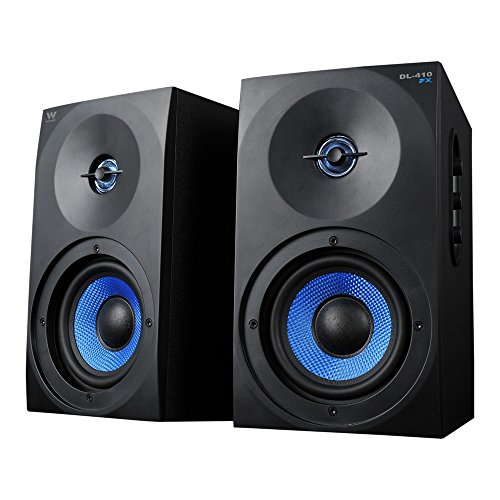 Woxter Dynamic Line DL-410 FX- Altavoces gaming estéreo 2.0 Autoamplificados con 150W, Madera, Woofer de 4 pulgadas, 2 Tweeter, 3.5 mm, RCA, Control volumen, agudos, graves, Bookself Speakers, Negro