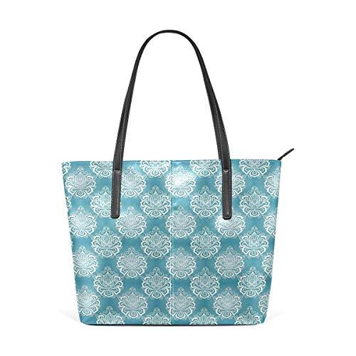 NR Multicolour Fashion Damen Handtaschen Schulterbeutel Umhängetaschen Damentaschen,Damast-Kunst-Blumen mit Barock Curlicues-viktorianischer Garten-Inspiration